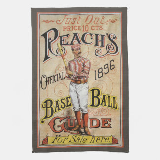 Vintage Sports Baseball, Reach's Guide Cover Art Tea Towel