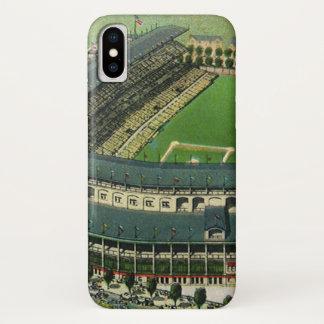 Vintage Sports Baseball Stadium, Aerial View iPhone X Case