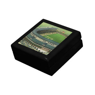 Vintage Sports Baseball Stadium, Bird's Eye View Small Square Gift Box