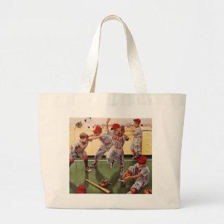 Vintage Sports Baseball Team, Boys in a Food Fight Jumbo Tote Bag