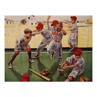 Vintage Sports Baseball Team, Boys in a Food Fight Poster