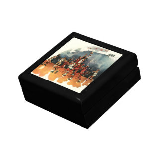 Vintage Sports, Basketball Game, Players on Court Small Square Gift Box