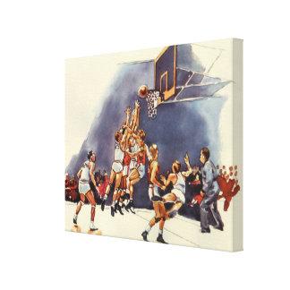 Vintage Sports Basketball Players Game Canvas Prints