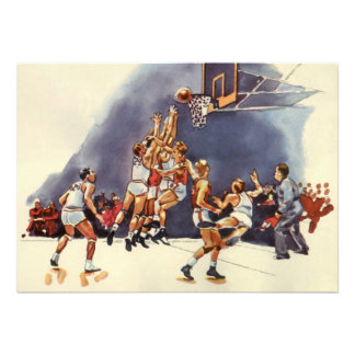 Vintage Sports Basketball Players Game Announcement