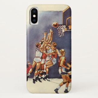 Vintage Sports, Basketball Players in a Game iPhone X Case