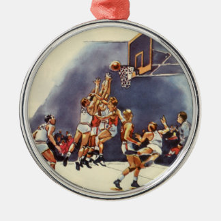 Vintage Sports, Basketball Players in a Game Silver-Colored Round Decoration