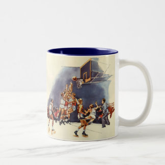 Vintage Sports, Basketball Players in a Game Two-Tone Coffee Mug