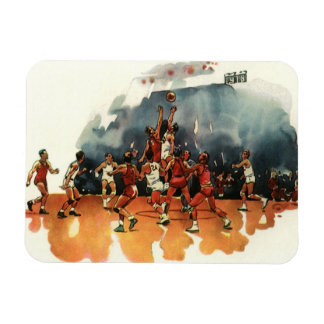 Vintage Sports, Basketball Players Playing a Game Rectangular Photo Magnet