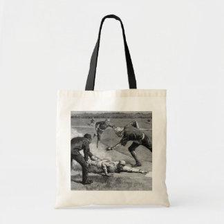 Vintage Sports, Black and White Antique Baseball Budget Tote Bag
