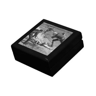 Vintage Sports, Black and White Antique Baseball Small Square Gift Box