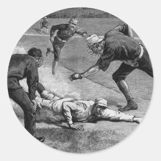 Vintage Sports, Black and White Antique Baseball Round Sticker
