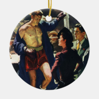 Vintage Sports, Boxer Leaving the Boxing Ring Christmas Ornament
