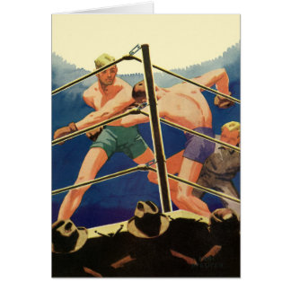 Vintage Sports Boxers Boxing Match Greeting Card