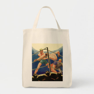 Vintage Sports, Boxers Boxing Match Grocery Tote Bag