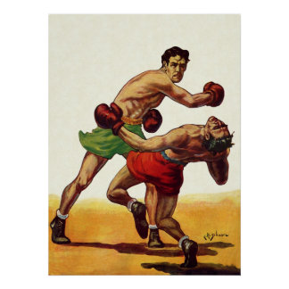 Vintage Sports, Boxers in a Boxing Fight Poster