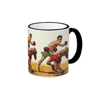 Vintage Sports, Boxers in a Boxing Fight Ringer Mug