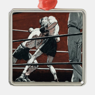Vintage Sports Boxing, Boxers Fight in the Ring Christmas Ornament
