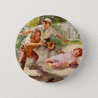 Vintage Sports, Children Playing Baseball 6 Cm Round Badge