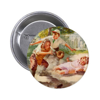 Vintage Sports, Children Playing Baseball Button