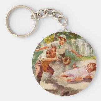 Vintage Sports, Children Playing Baseball Basic Round Button Key Ring