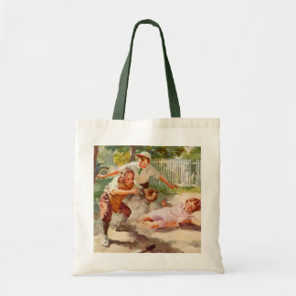 Vintage Sports, Children Playing Baseball Budget Tote Bag