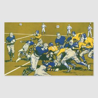 Vintage Sports Football Game, Blue vs Gold Teams Rectangular Sticker
