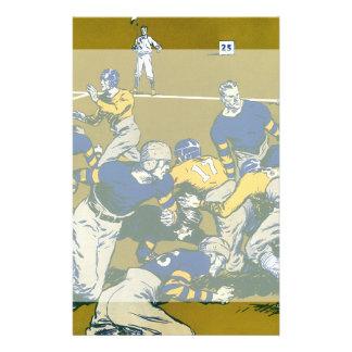 Vintage Sports Football Game, Blue vs Gold Teams Stationery Design