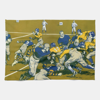 Vintage Sports Football Game, Gold vs. Blue Teams Tea Towel