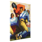 Vintage Sports, Football Players in a Game Canvas Print