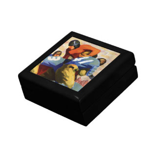 Vintage Sports, Football Players in a Game Small Square Gift Box