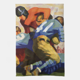 Vintage Sports, Football Players in a Game Tea Towel