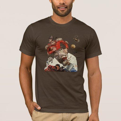 Vintage Sports Football Quarterback Player Running T-Shirt