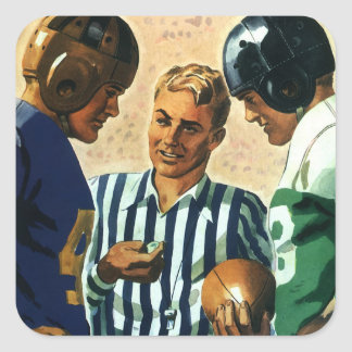 Vintage Sports, Football Ref Coin Toss Square Sticker