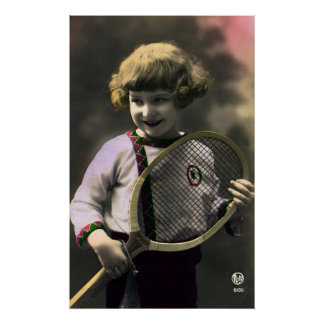 Vintage Sports, Happy Girl Holding a Tennis Racket Poster