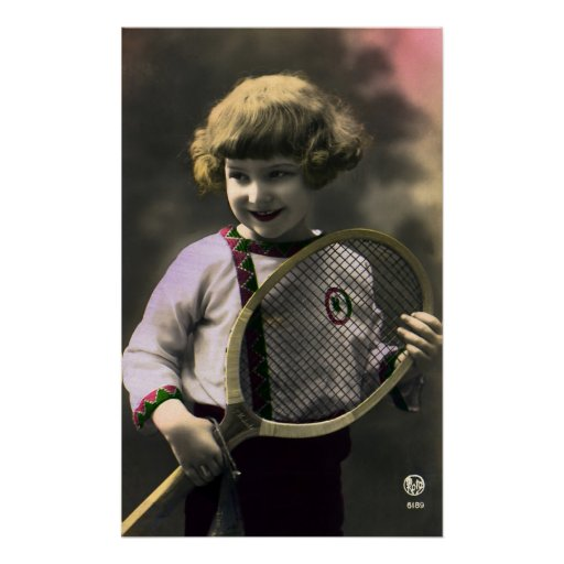 Vintage Sports, Happy Girl Holding a Tennis Racket Print
