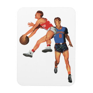 Vintage Sports, Men Basketball Players with Ball Rectangular Photo Magnet