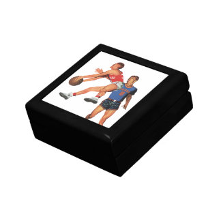 Vintage Sports, Men Basketball Players with Ball Small Square Gift Box