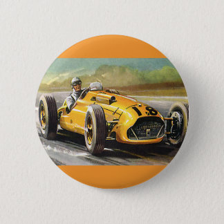 Vintage Sports Racing, Yellow Race Car Racer 6 Cm Round Badge