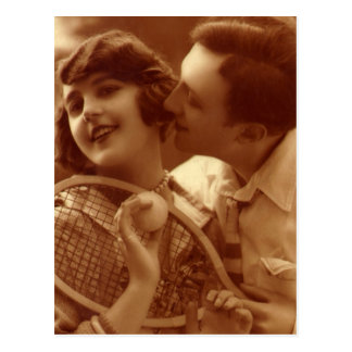 Vintage Sports Tennis, Love and Romance Postcard
