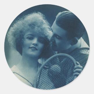 Vintage Sports Tennis, Love and Romance Round Sticker