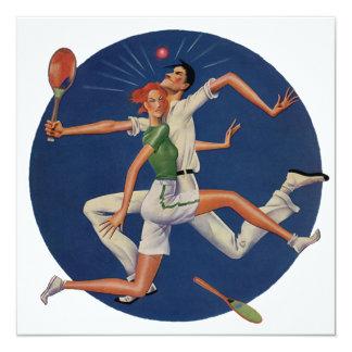 Vintage Sports, Tennis Players Crash with Rackets 13 Cm X 13 Cm Square Invitation Card