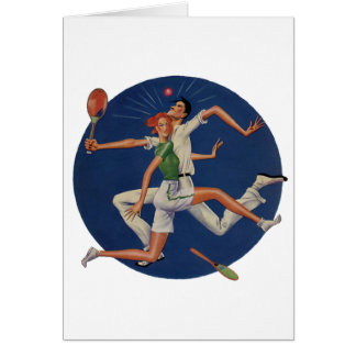Vintage Sports, Tennis Players Crash with Rackets Card