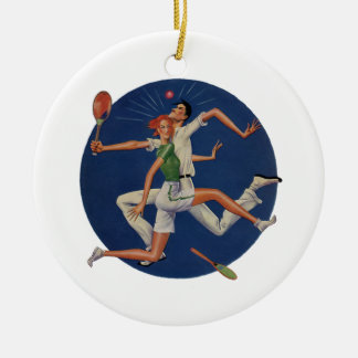 Vintage Sports, Tennis Players Crash with Rackets Round Ceramic Decoration