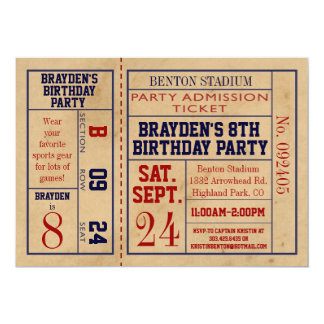 Vintage Sports Ticket Birthday Invite - Football