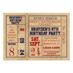 Vintage Sports Ticket Birthday Invite - Hockey