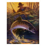 Vintage Sports Trout Fishing; Catch and Release Poster