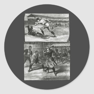Vintage Sports Victorian Women s Baseball Teams Round Sticker