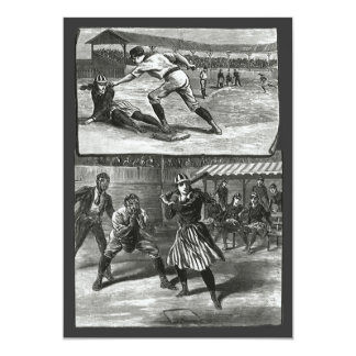 Vintage Sports, Victorian Women's Baseball Teams 13 Cm X 18 Cm Invitation Card