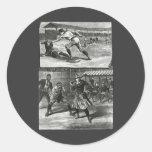 Vintage Sports, Victorian Women's Baseball Teams Round Sticker