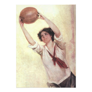 Vintage Sports Woman Basketball Player Personalized Invitations